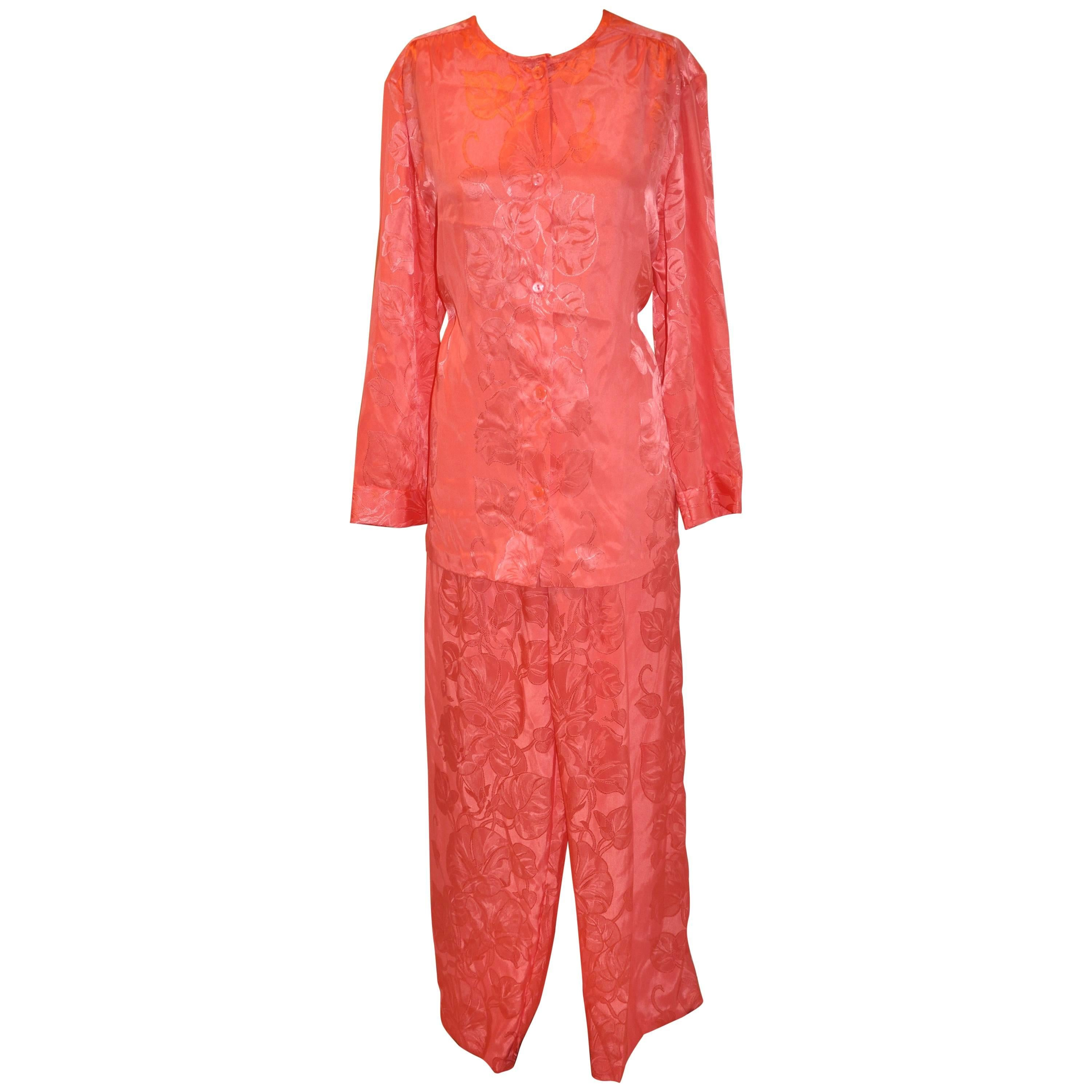 0486ec6aca8eb Natori Coral Floral Button Top and Pant Lounge Ensemble For Sale at 1stdibs