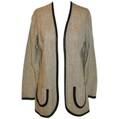 Vera Bronze & Metallic Gold Open Evening Jacket with Patch Pockets