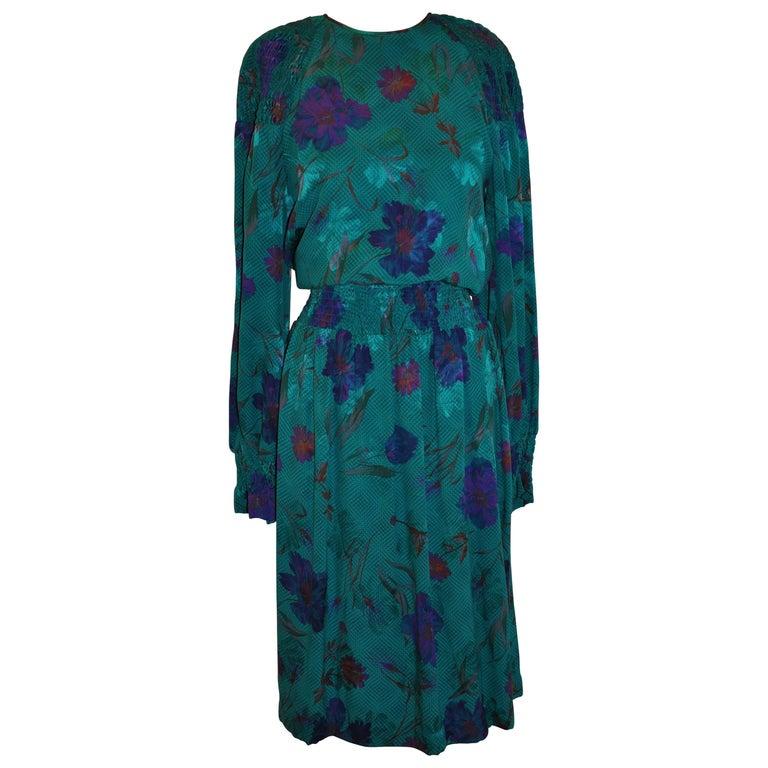 Multi-Floral Emerald Green Floral Silk Jacquard Dress