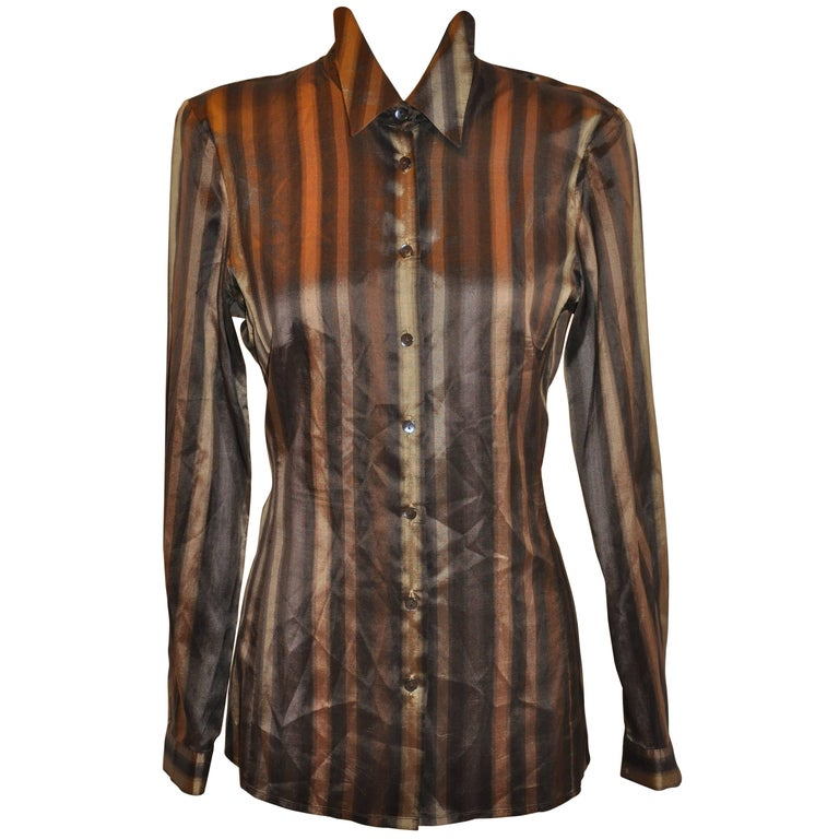 Jaeger Shades of Bronze & Gold Multi-Stripe Silk Button Blouse