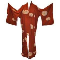 Warm Brown with Large Floral Bloom Silk Kimono