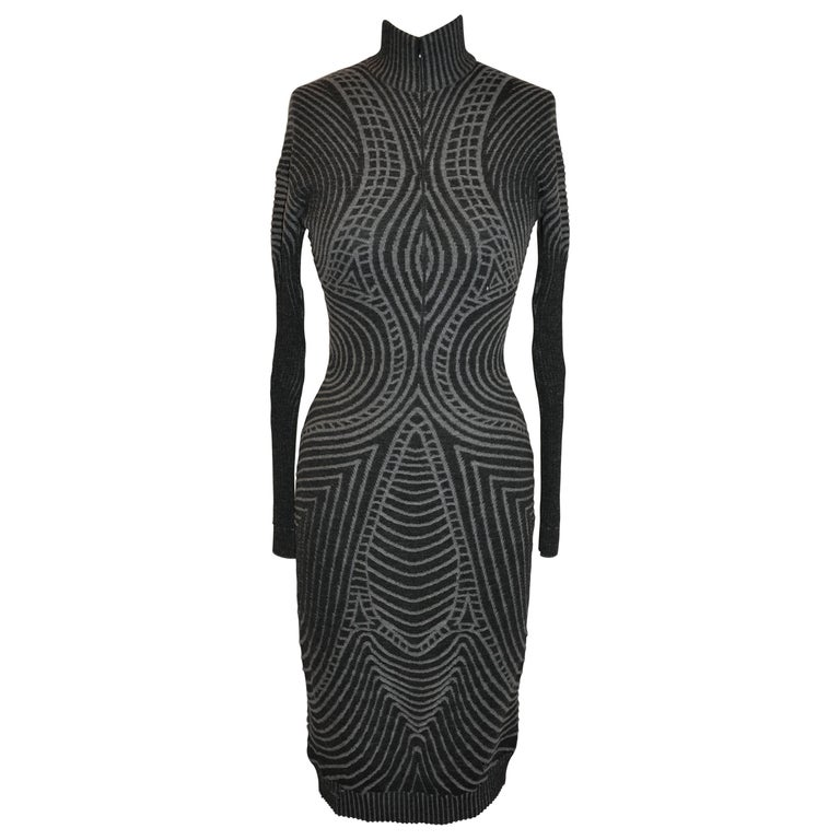 Alexander McQueen Charcoal & Gray Body-Hugging Abstract High-Neck Dress For Sale