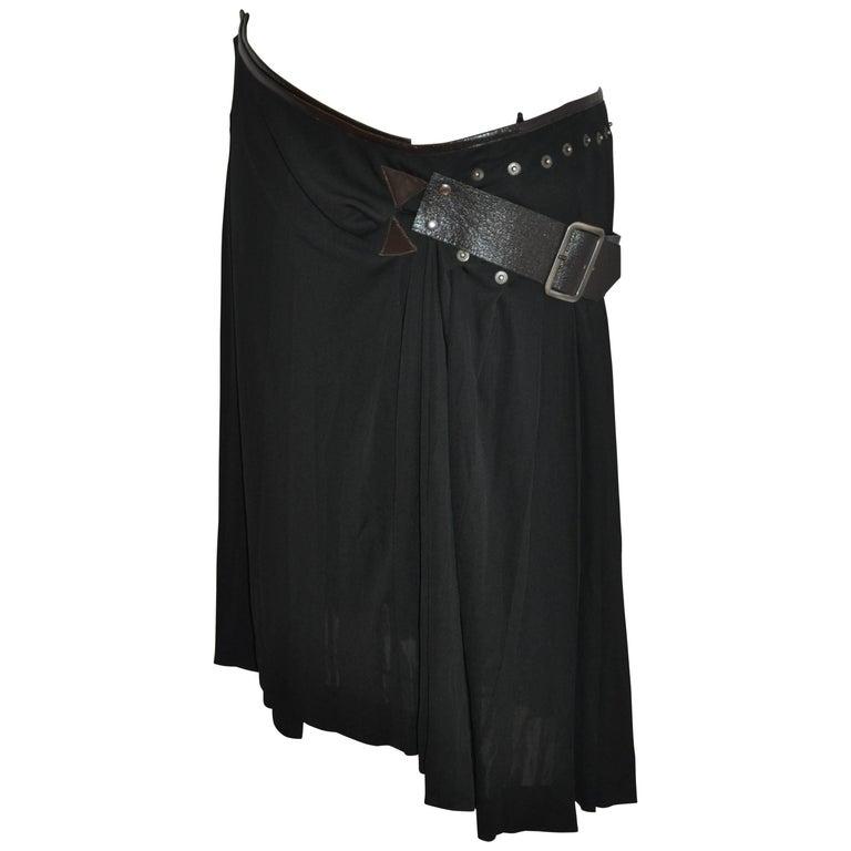Jean Paul Gaultier Black Jersey Gladiator Adjustable Studded Wrap Skirt