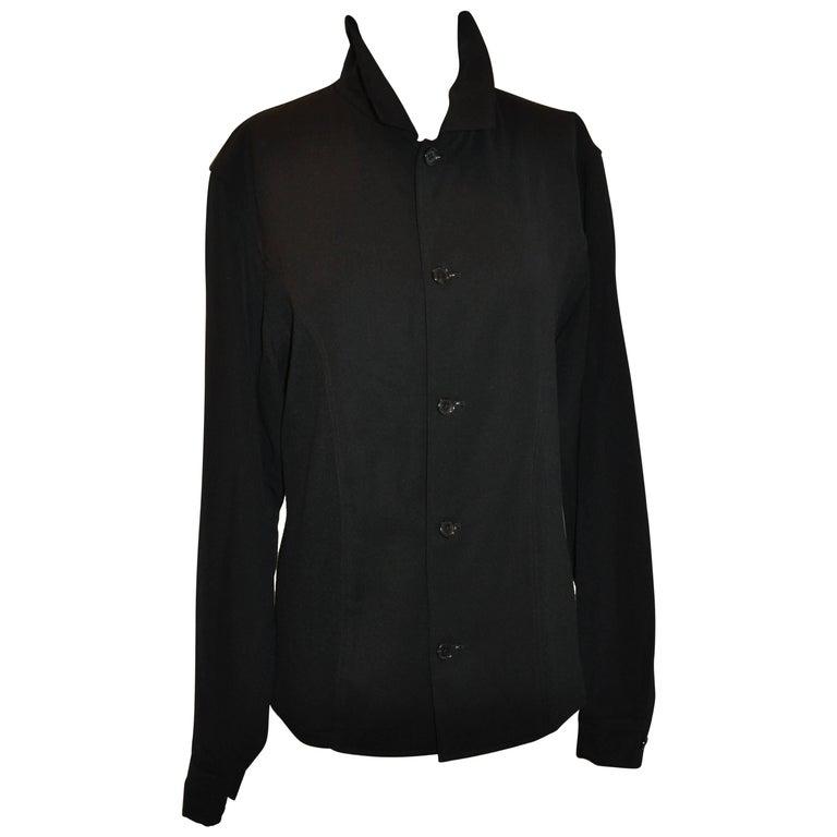 Yohji Yamamoto Homme Black Wool Jersey Panel & Cotton Button Jacket