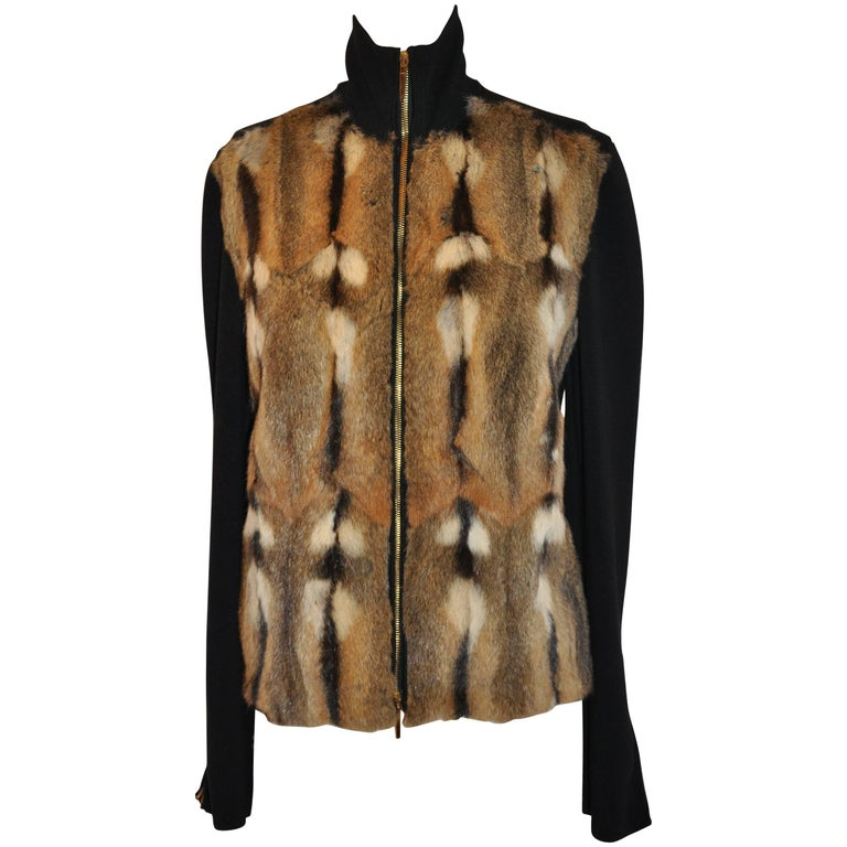 Gucci Black Cashmere Blend With Amster Fur Stretch Zipper Jacket