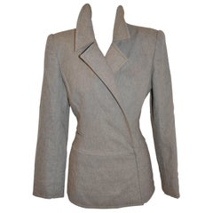Claude Montana Brown Taupe High-Collared Zipper-Front Jacket