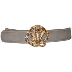 "Roberto Cavalli Cream & Ivory Hue with Gilded Gold Hardware ""Cobra"" Belt"