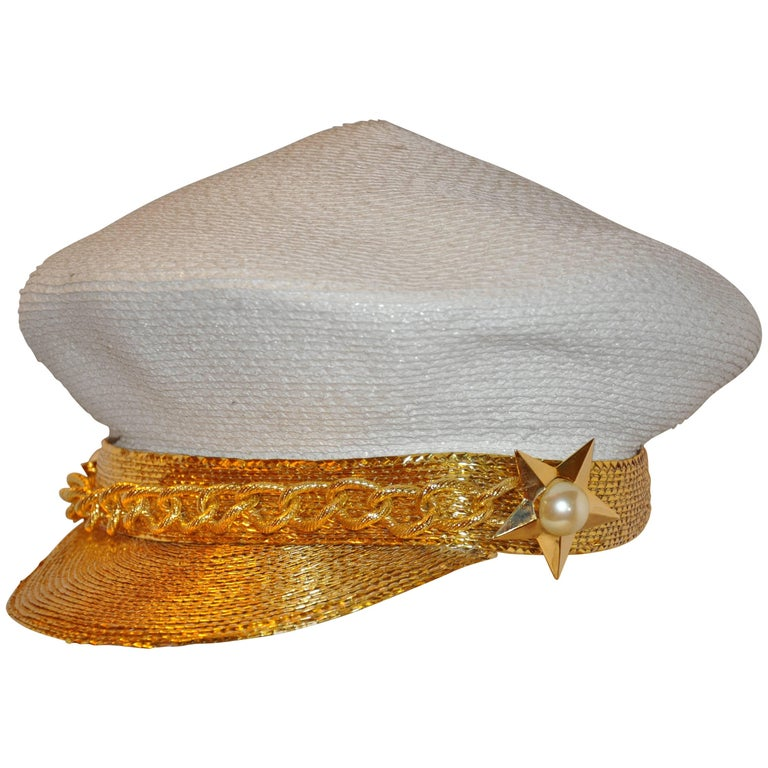 Frank Olive Ivory Woven Wicker/Metallic Gold with Gold Hardware Accent Beret