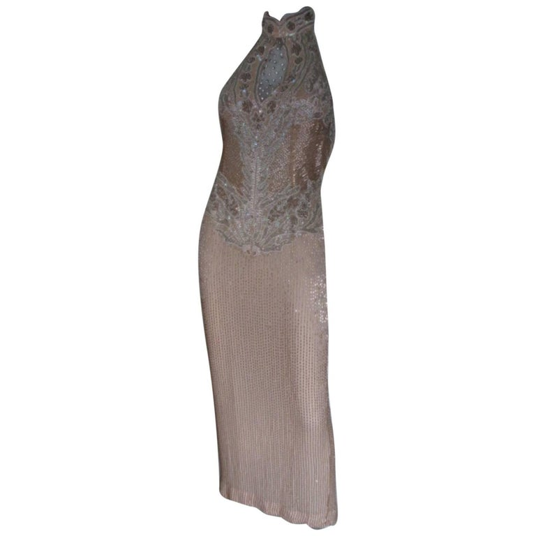 013b56c1100 oleg cassini black tie halter sequin evening dress For Sale at 1stdibs