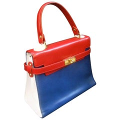 Chic mod Italian leather classic handbag c 1970s