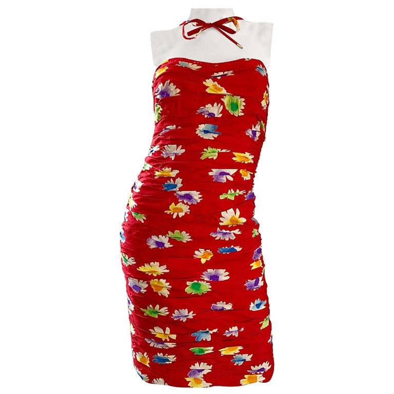 1990s Emanuel Ungaro Red Strapless Reverse Halter Flower Cotton Vintage Dress