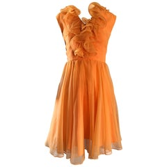 1960s Chic Sorbert Orange Chiffon Ruffle Neck Vintage A - Line 60s Dress