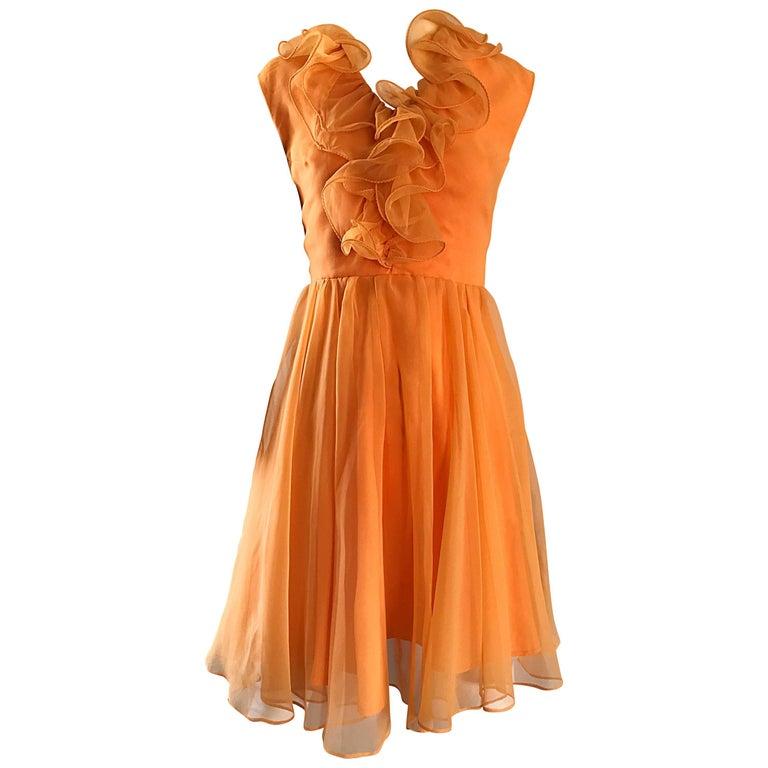 1960s Chic Sorbert Orange Chiffon Ruffle Neck Vintage A - Line 60s Dress
