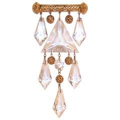Large Vintage Vogue Jewelry Lucite & Gold Filigree Brooch