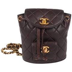 Chanel Quilted Mini Backpack - dark brown/gold