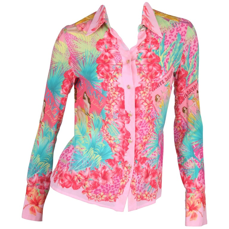 Versace Hawai Print Silk Blouse - pink/green/yellow
