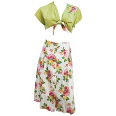 1950s Floral Two Piece Bolero and Skirt Set