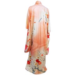 Coral Floral Motif Printed Silk Kimono