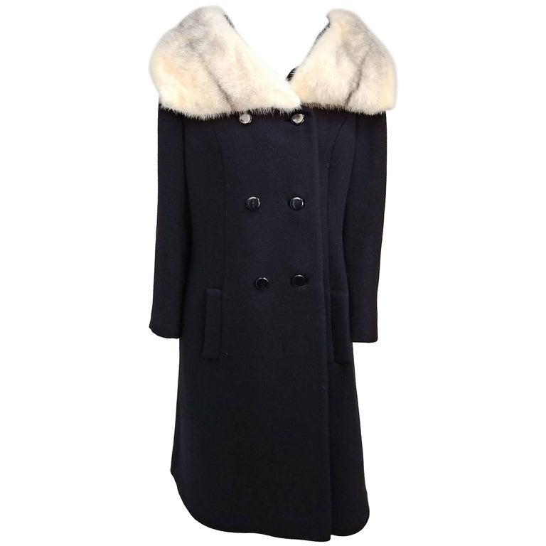 1960s Lilli Ann Mink Trim Black Wool Coat