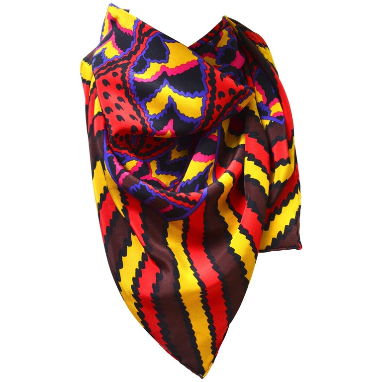 80s Givenchy Paisley Print Pop Scarf 1