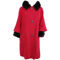 1960s Red Wool Coat w/ Mink Trim