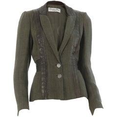 Christian Dior Boutique Paris Linen Jacket With Lambskin Leather Trim 90s Sz 4