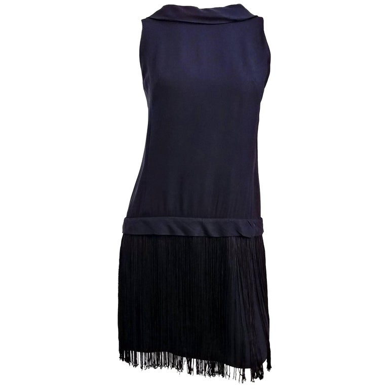 1960s Drop Waist Fringe Cocktail Dress