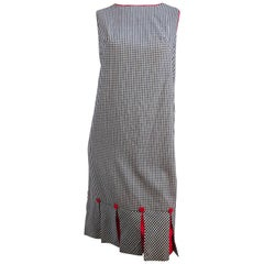 1960s Black & White Gingham Drop Waist Dress