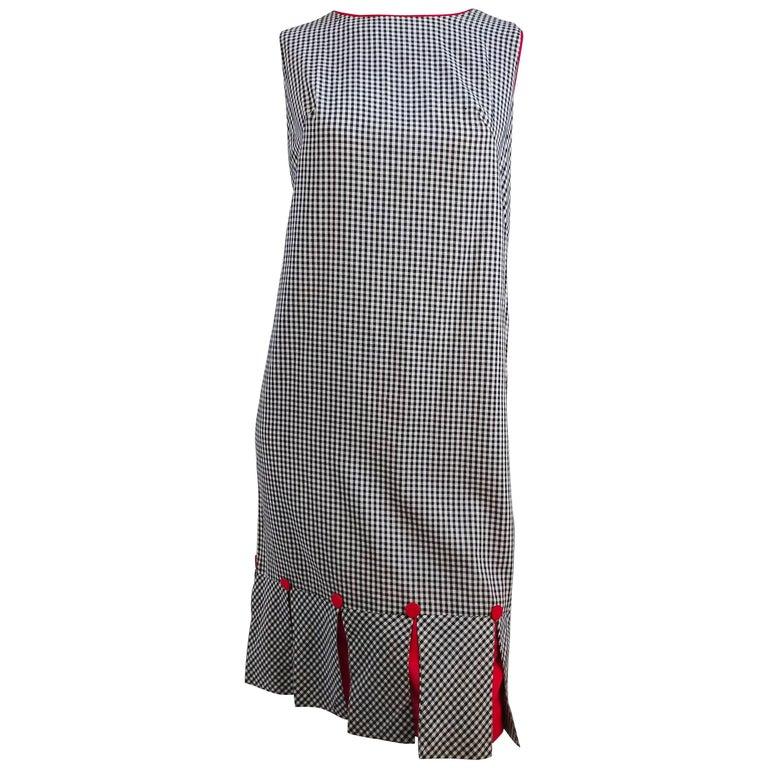 1960s Black & White Gingham Drop Waist Dress For Sale