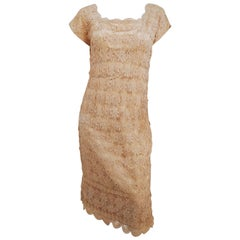 1960s Ivory Crocheted Lace Cocktail Dress