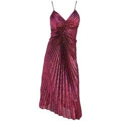 1960s Hot Pink Metallic Pleated Studio 54 Disco Dress