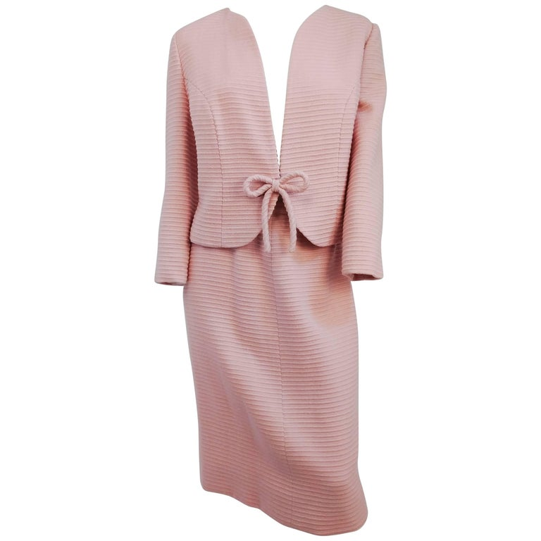 1960s Pink Lilli Ann Bow Front Skirt Suit