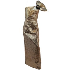 1980s Gold Metallic Sequin Party Dress w/ Bow