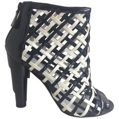 Chanel Black And White Cage Booties SZ 38.5