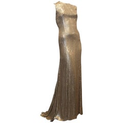 Kaufman Franco Gold Sequins Gown