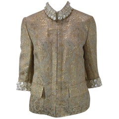 Dolce & Gabbana Gold Brocade Embellished Jacket