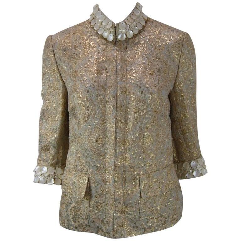 Dolce & Gabbana Gold Brocade Embellished Jacket 1