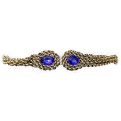 GoldTone Twist Belt with Blue Glass Stones