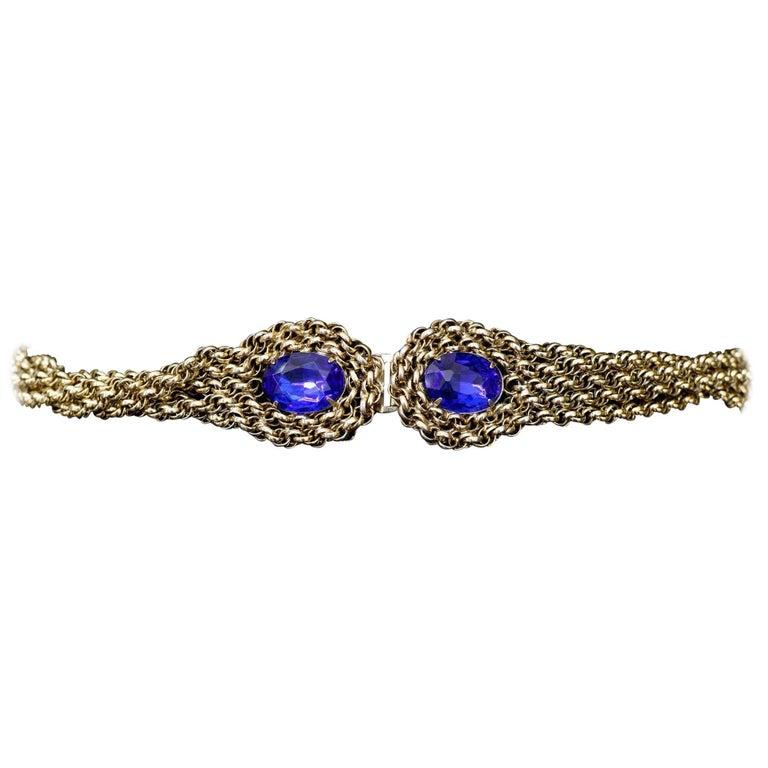 GoldTone Twist Belt with Blue Glass Stones