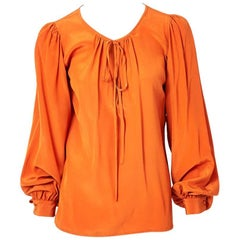 Yves Saint Laurent Silk Peasant Blouse