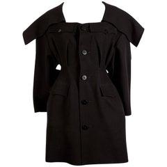 1980's YOHJI YAMAMOTO black wool coat with exaggerated collar