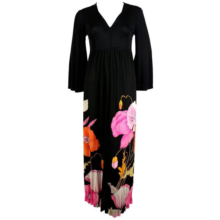 1970's LEONARD floral printed silk jersey dress
