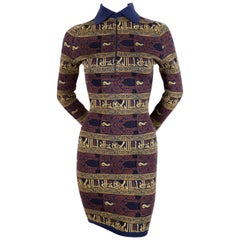 1990 ALAIA dress with Arabic calligraphy in the Kufic script