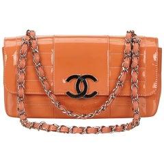Chanel Orange Matelasse Patent Leather Shoulder Bag