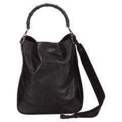 Gucci Iconic Black Leather Bamboo Handbag