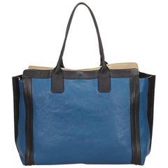Chloe Blue Allison Black Trim Leather Tote Bag