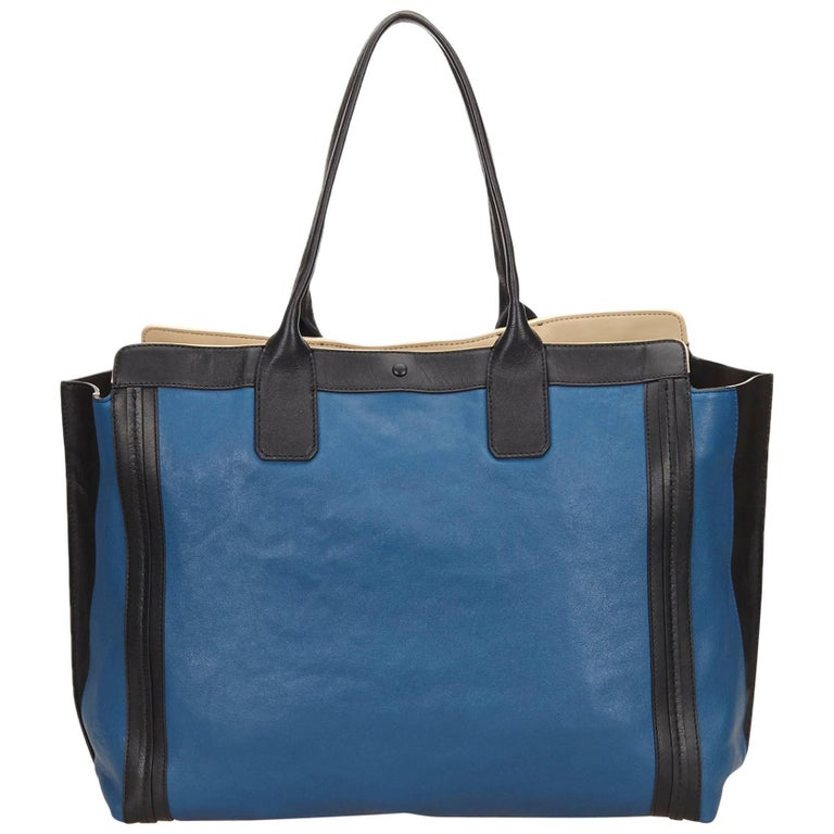 Chloe Blue Allison Black Trim Leather Tote Bag at 1stdibs