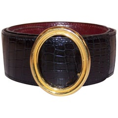 Classic 1980's Hermes Black Crocodile Belt With Oval Buckle