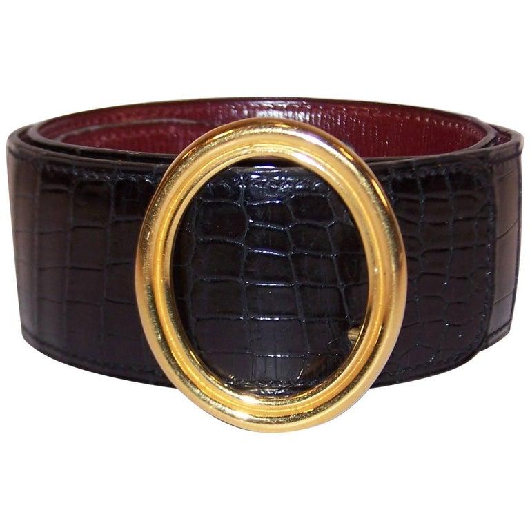 Classic 1980's Hermes Black Crocodile Belt With Oval Buckle