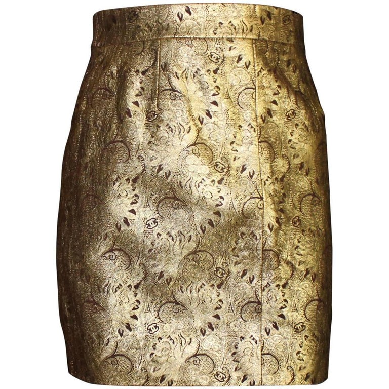 Chanel Golden Metallic CC Logo Paisly Pattern Leather Skirt